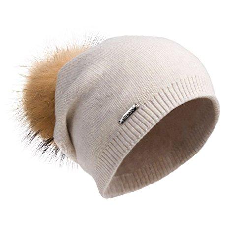 Pilipala Women Oversized Slouchy Beanie Bobble Hat by with Fur Pompom VC17601 Beige Gold Pompom by Pilipala