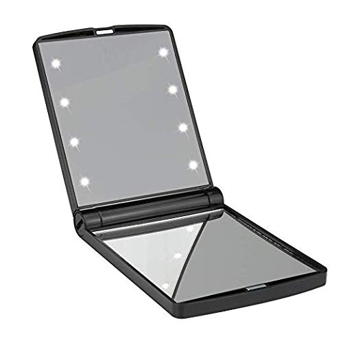 ZDATT Pocket Mirror, 8 LED Lights Makeup Mirror 1X 2X Magnifications Mini Travel Cosmetic Mirror, Black