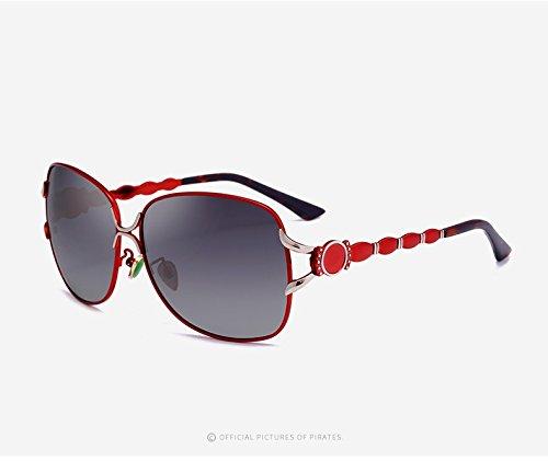 Casual de Gafas Moda al para Gafas de Mujeres Sol Grandes Sol Aire Yao UV400 de Libre de Gafas para Polaroid Adultos conducción de Vintage Sol Red Espejo wzxPqvHC