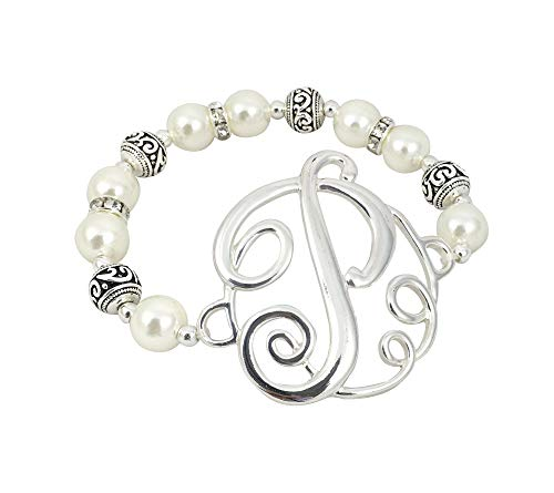 O3 Monogram Silver Tone Charm 6mm Glass Pearl Body Stretch Bracelet (Glass Bracelet Stretch Pearl)