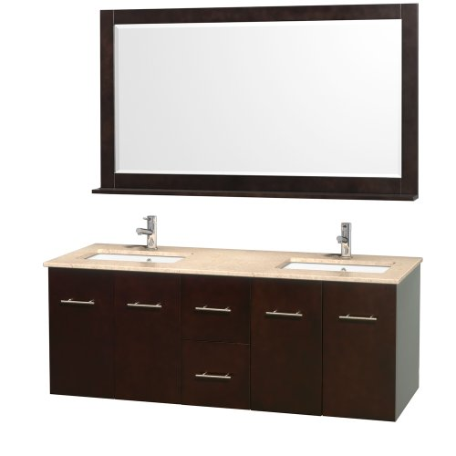 Wyndham Collection Centra 60 inch Double Bathroom Vanity in Espresso with Ivory Top with Square Porcelain Undermount Sinks