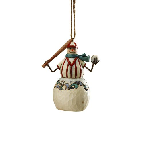 Jim Shore Heartwood Creek Snowman Playing Baseball Hanging Ornament, 4 Inches