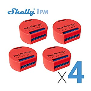 Shelly 1 One PM Smart Relay Switch WiFi Open Source Wireless Home Automation iOS Android Application (4 Pack) Outlet Switches