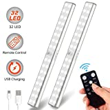 Litake Under Cabinet Lighting, 32 LEDs USB Rechargeable Closet Light, Remote Control Stick-On Anywhere Wireless Portable Under Counter Lighting for Kitchen, Closet, Cabinet, Wardrobe (2 Pack)
