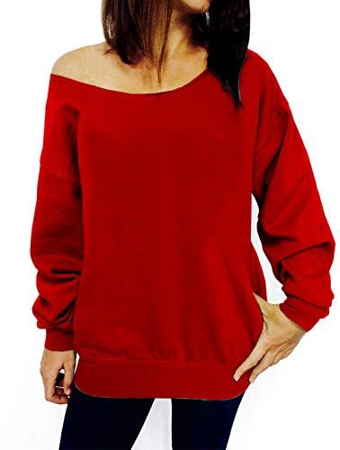TWKIOUE Ladies Pullover Sweatshirt, Women Causal Off Shoulder Sweatshirts Long Sleeve Slouchy Shirts Pullover Tops Red 3XL