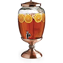 Circleware 68162 Celebrations Elegant Glass Beverage Dispenser with Copper Stand and Lid Entertainment Kitchen Glassware Pitcher for Water, Juice, Wine, Kombucha and Cold Drinks, Huge 3.1 Gal