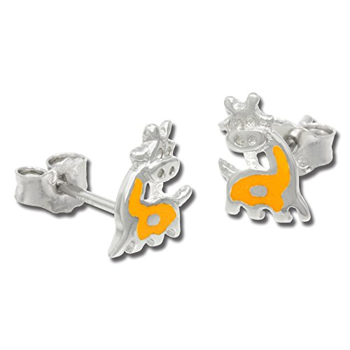 Teenie-Weenie kids earring yellow enameled giraffe, stud earring, 925 Sterling Silver SDO205Y - Enameled Giraffe
