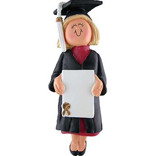 (Personalized New Graduate Girl Christmas Tree Ornament 2019 - Blonde Woman in Dress with Diploma UnderGraduation PhD Masters Degree High End - Free Customization (Yellow Hair)