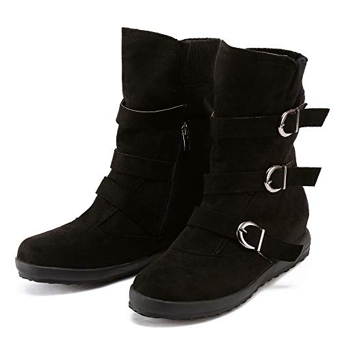 17 Eyelets 3 Zipper - Youngh Women's Boot Flat Ankle Buckle Boots Solid Zipper Bootie Fashion Winter Boot Martin Shoes