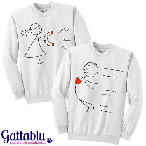 Felpe di coppia LUI e LEI Magnete d'amore, calamita magica! Idea regalo San Valentino per due innamorati, fidanzati, marito e moglie!