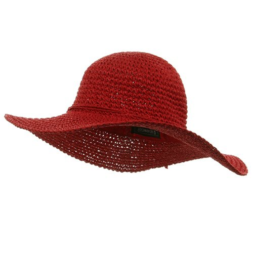 Ladies Hand Crocheted Hats-Red W32S25E