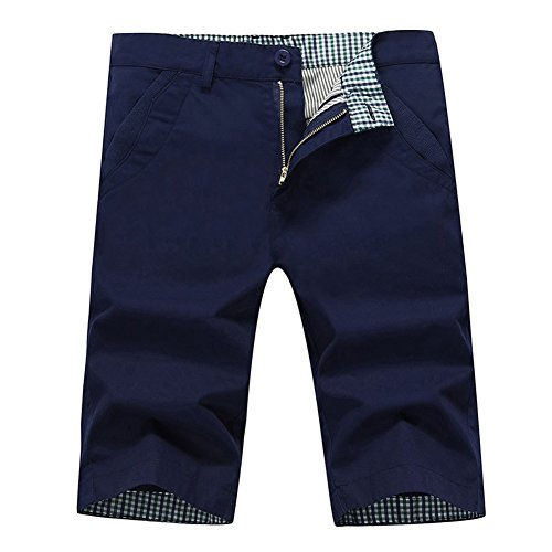 Slim Fit Shoes - Lovelelify Mens Flat Front Shorts Slim Fit Short Casual Classic Chino Shorts US 30/Asian 32 Navy Blue GWA21