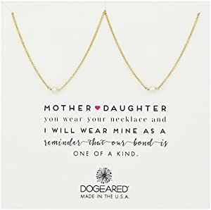 "Dogeared Mother & Daughter 2 Small Pearl Necklaces Gold Dipped Chain Necklace, 18"" + 2.5"" Extender"