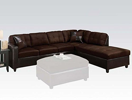 2 pc Milano collection reversible two tone chocolate easy rider fabric and espresso leather like vinyl sectional (Espresso Leather Sectional Sofa)
