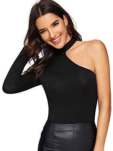 637c8922341 WDIRARA Women's Sexy One Shoulder Long Sleeve Leopard Print Cut Out T-Shirt  Tops