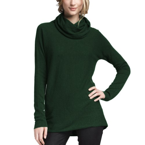 Parisbonbon Women's 100% Cashmere Cowl Neck Sweater Color Hunter Green Size 3X by Parisbonbon