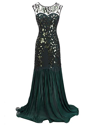 FAIRY COUPLE 1920s Floor Length Sequined V-Neck Flapper Party Maxi Dress Long Prom Cocktail(M,Green)