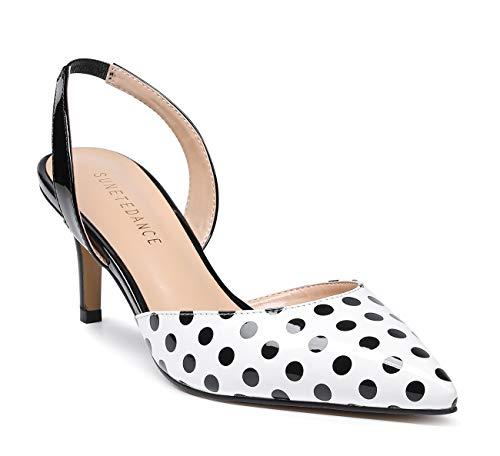 SUNETEDANCE Women's Slingback Pumps Pointed Toe Kitten Heels Slip On Stiletto Sandals Ankle Strap Shoes 6CM Heels Patent Dots Pump 8 M US