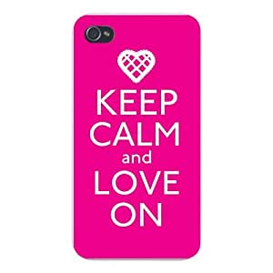 Apple Iphone Custom Case 4 4s White Plastic Snap on - Keep Calm and Love On w/ Heart