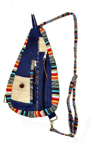 - Mandala Tibetan Shop Bohemian Hemp Blue Cool Sling Backpack, Cute Backpack, 243