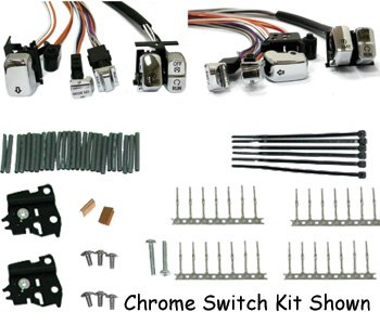 Handlebar switch wiring kit fits 96-06 softail & dyna w/led switches, 60'' chrome by V-Factor