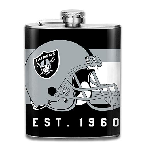 (Aoskin Oakland Raiders Portable Stainless Steel 7oz Hip Flask Flagon Whiskey Wine Pot Bottle)