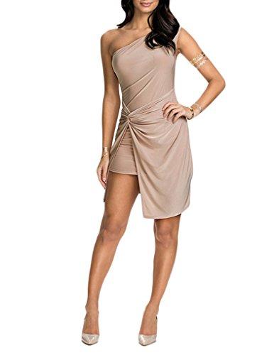JOLLYCHIC Women's Solid Color Irregular Hem Hollow Shoulder Sexy Bodycon Dress Szie 2 US Khaki