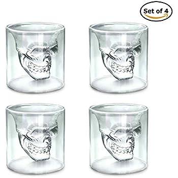 SET OF 2 SKULL SHOT GLASSES 7cm TALL SHOT GLASS HALLOWEEN CLEAR SKULLS
