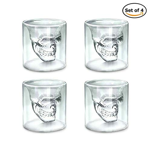 GuDoQi Skull Glass Cup Double Wall Crystal Skull Shot Glasses Cocktail Mug Beer Wine Glasses Set of 4 (Skull Glasses)
