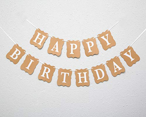Happy birthday banner for Kraft paper - Birthday Party Banner In Brownish yel And White, sign Garland Birthday Party Photo Props,Event Decorations For Kids And Adults |Reusable (Happy birthday banner)