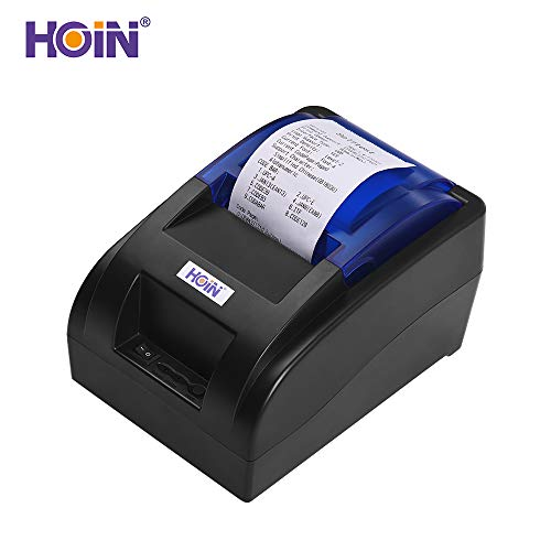 Aibecy HOIN Portable 58mm Thermal Receipt Printer with BT & USB Interface High Speed Bill Ticket Clear Printing Compatible with ESC/POS Commands Set Support for Windows//Linux/Android/iOS
