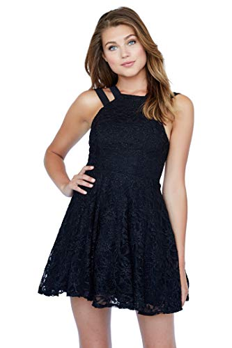 French Poodle Junior's Black Lace Party Dress with Double-Strapped Halter Neckline | A Fresh Take on The Little Black Dress | Great for Most Any Occasion | Size 2