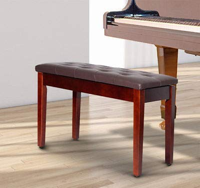 Upholstered Chestnut Chair - Canvoi PU Leather Piano Bench Padded Double Duet Storage Upholstered Seat Brown