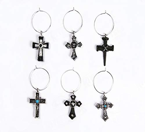 - Wine Glass Charms, Set of 6 Hand Painted Cross Wine Glass Charm Set