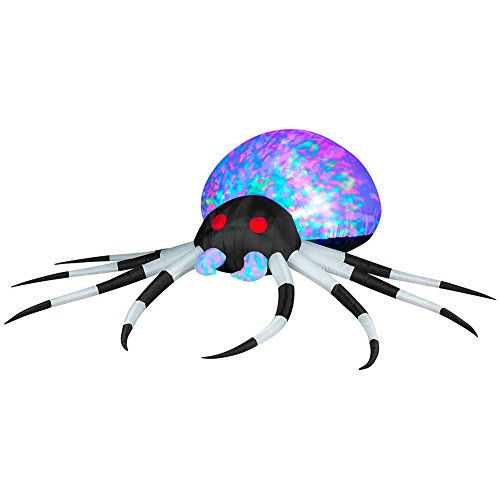Gemmy Halloween Airblown Inflatable Spider, Kaleidoscope Lightshow Spider is 8 Feet Wide, Features Black and White Legs and MultiColor Kaleidoscope Lightshow (Halloween Blow Up Yard Decorations)