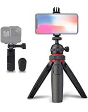 LENSGO L322 Mini Tripod, Cell Phone Tripod Camera Stand Travel Holder with Wireless Remote Shutter & Universal Cell Phone Clip & 360° Ball Head & GoPro Mount for Android iPhone Smartphone Camera GoPro