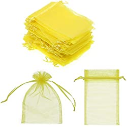 "SumDirect 100Pcs 4""x6"" Sheer Drawstring Organza Jewelry Pouches Wedding Party Christmas Favor Gift Bags (Yellow)"