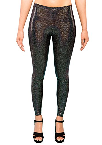 MADWAG Holographic Black Women's Leggings Ladies Glitter Party Tights Sparkly Festival Pants EDM Clothing XS S M L XL XXL (XX-Large) (Clown Hoop Pants)