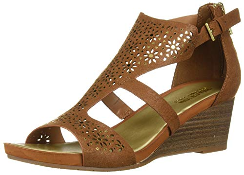 - Kenneth Cole REACTION Women's Roll T-Strap Wedge Sandal Tan, 7 M US