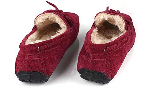 Santimon-hiver Chaleur Confort Des Hommes Véritable Nubuck Cuir Chaussures Dextérieur Slipper Mocassins Rouge