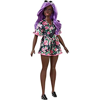 ​Barbie Fashionistas Doll with Purple Hair Wearing Black Floral Dress, for 3 to 8 Year Olds