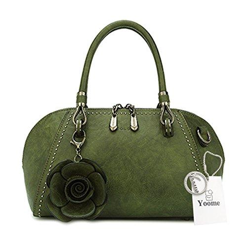 Yoome Green Elegant Pendant handle Women Retro For Bags Flower Bags Rose Large Bags Top Satchel agxwaqpROr