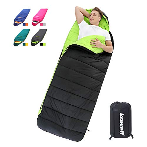 - Kowell Lightweight Sleeping Bags Waterproof for Adults & Kids Camping, Backpacking, or Hiking Comfort for 4 Season Warm & Cold Weather Sleeping Bag with Compression Sack