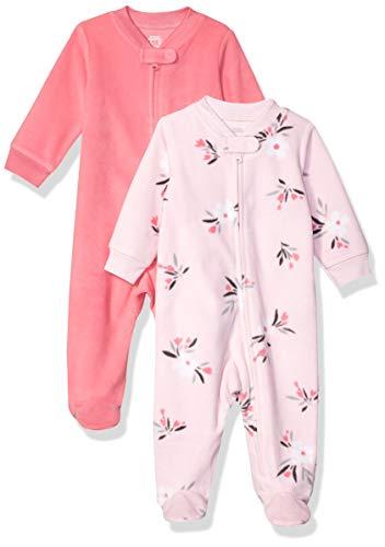 Amazon Essentials Baby Girls 2-Pack Microfleece Sleep and Play, Pink Floral, Preemie