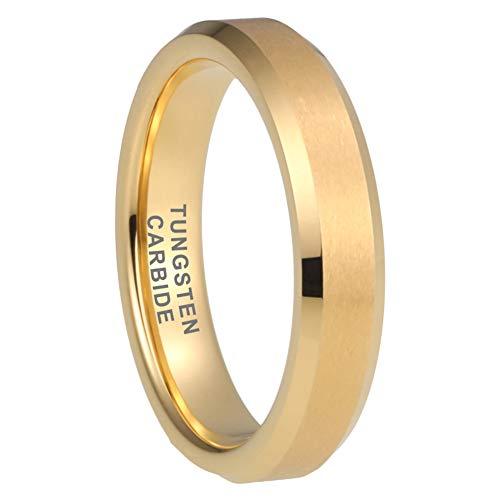 (iTungsten 4mm 18K Gold Tungsten Rings for Women Men Wedding Bands Matte Finish Beveled Edges Comfort Fit)