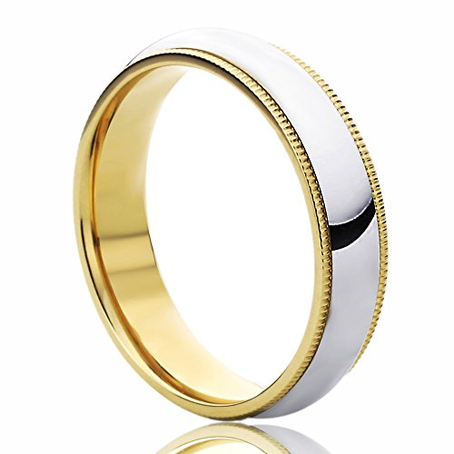 14K Yellow Gold & White Gold Wedding Band 5mm Milgrain Edges Domed Classy Comfort Fit Ring -Size: 10.5