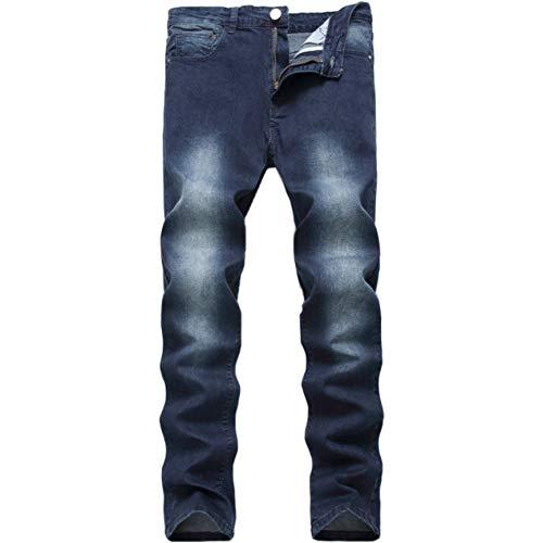 Leward Men's Blue Skinny Jeans Stretch Washed Slim Fit Straight Basic Denim Pencil Pants (Blue, 36)