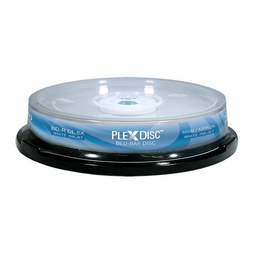 PLEXDISC 645-212 50 GB 6x Blu-ray Double Layer White Inkjet Recordable Disc BD-R DL, 10-Disc Spindle FBA_645-212