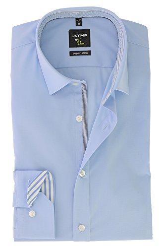 OLYMP Business & Freizeit Hemd aus der Serie No. 6 SIX Langarmhemd mit Urban Kent Kragen Super Slim Fit Schnitt Gr.45 Hellblau