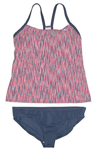 Nike Women's Tankini Athletic 2-Piece Swimsuit (Large, Pink/Navy Multi)